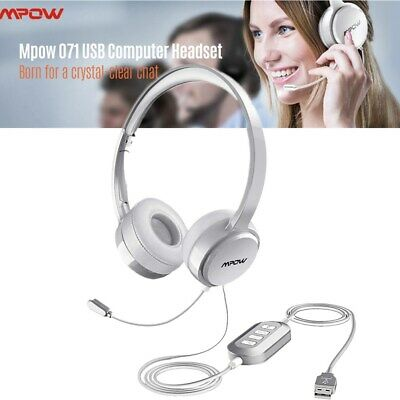 Mpow USB 3.5mm Headset Wired Headphones Business For Computer PC Laptop Skype • 25.75£