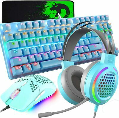 AU102.89 • Buy Mechanical Gaming Keyboard Mouse And Headset Combo RGB Backlit For PC PS4 Xbox