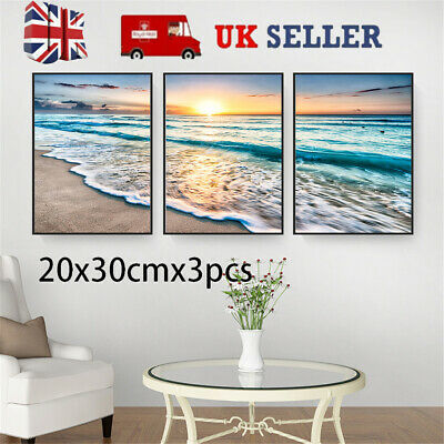 3* Canvas Painting Pictures Art Decor Wall Posters Sea Landscape Beach Ornament • 8.39£