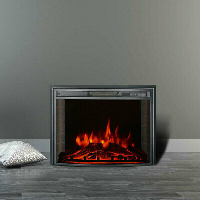 £69.95 • Buy 26'' Electric LED Fireplace Curved Glass Display Fire Flame Timer Heater +Remote