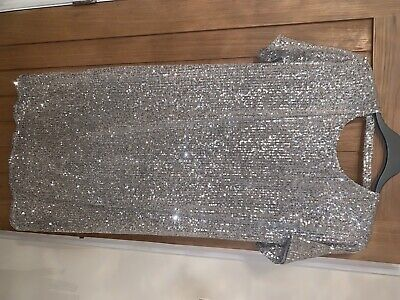 £18 • Buy Asos Sequin Midi Dress With Open Back Silver Size 12 BNWT