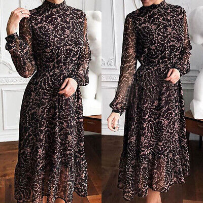 AU27.69 • Buy Womens Long Sleeve Floral Print Midi Dress Party Cocktail Evening Prom Ball Gown