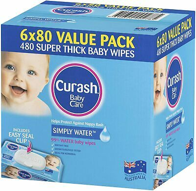 AU27.50 • Buy  Curash Water Baby Wipes 6X80 PK