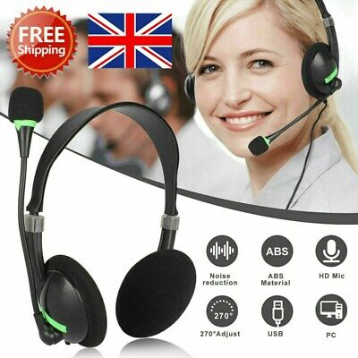 NEW Headphones With Microphone USB Noise Cancelling Headset For Skype Laptop UK • 8.65£