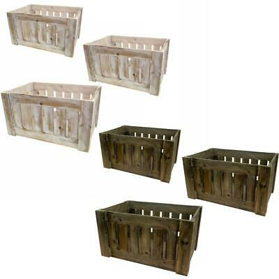 Art Deco Farm Shop Style Wooden Slatted Storage Display Box Apple Crate • 11.99£
