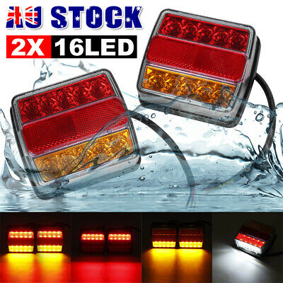 AU27.99 • Buy 2X Submersible Tail Lights 16 LED Stop Trailer Light Kit For Boat Caravan Truck