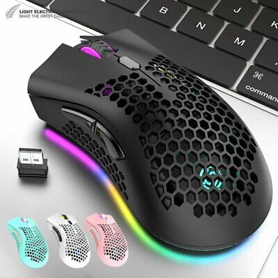 AU23.71 • Buy Wireless Lightweight Gaming Mouse Rechargeable 1600DPI RGB Backlit 7 Button NEW