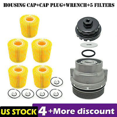 $36.99 • Buy Oil Filter Housing Cap 15620-31060 + Cap Plug + Wrench +5x Filter Fit For TOYOTA