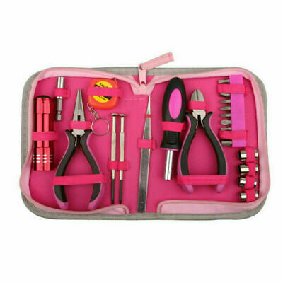 23 Pcs Tool Set Kit Box Pink Women Ladies Girls Female Hand Tools Pliers • 16.99£