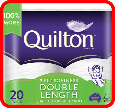 AU26.25 • Buy Toilet Paper 20 Rolls Deluxe Quilton 3 Ply Double Length Large Roll Tissue Bulk