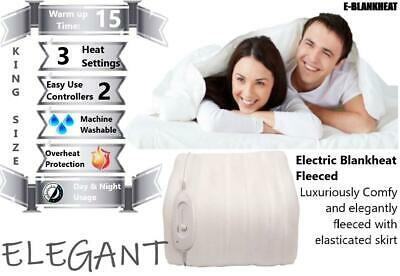£28.99 • Buy Elegant Fleeced Electric Heated Blanket King Size Fully Fitted Dual Control