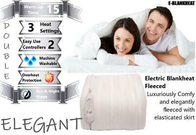 £24.99 • Buy Elegant Fleeced Electric Heated Blanket Double Size Dual Controls Fully Fitted