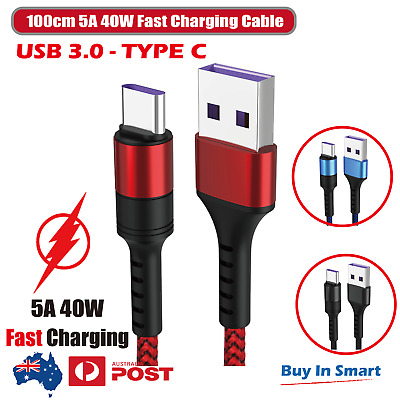 AU5.95 • Buy Type-C USB-C USB 3.0 Charging Cable 5A 40W Male Data Snyc FAST Charger 100cm