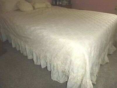Vtg Sears Penelope Ivory Lace Bedspread~Shams~Decorative Pillows Full/Queen NOS! • 72.35£