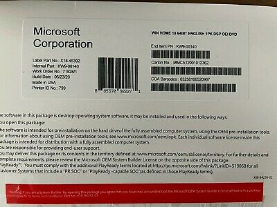 $ CDN33.85 • Buy BRAND NEW SEALED WlNDOWS 10 HOME 64 BIT + PRODUCT KEY STICKER
