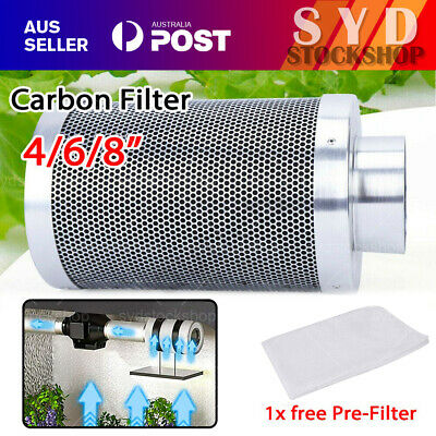 AU53.99 • Buy 4  6  8  Inch Carbon Filter Odor Control For Fan Grow Hydroponics Tent Extractor