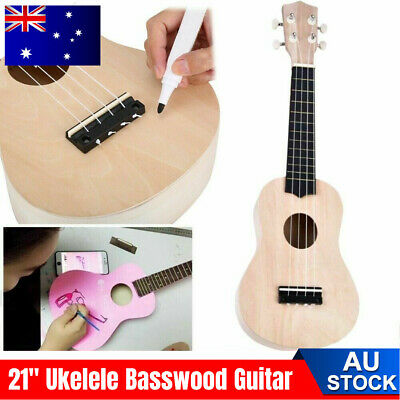 AU15.28 • Buy 21  Ukelele Ukulele Basswood Guitar DIY Kit Hawaii Guitar Handwork Kids Gift AU