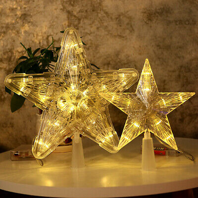 Christmas Tree Topper LED Light Up Star Tree Xmas Ornament Home Party Decor UK • 7.59£