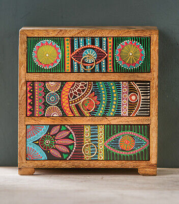 £74.99 • Buy African Influenced Hand Painted 3 Drawer Chest, Decorative Vintage Unique Style