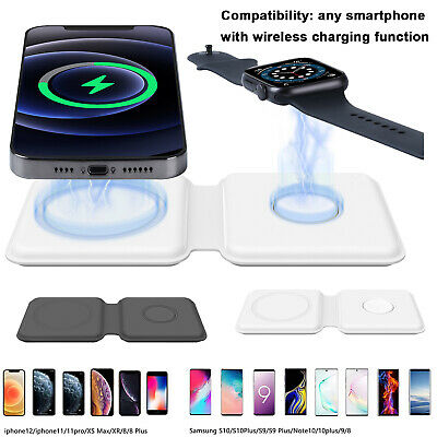 AU28.99 • Buy 2 In 1 15W Fast Wireless Charger Charging Dock For IPhone12 Apple Watch Air Pods
