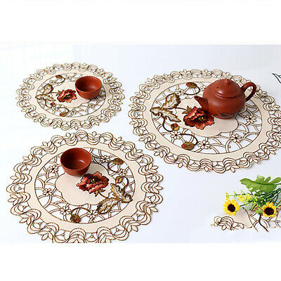 £4.58 • Buy Set Of 4 Round Placemats Dining Table Place Mat Embroidered Flower Lace Doilies