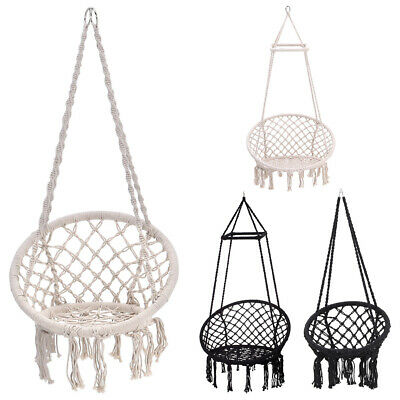 Outdoor Indoor Hanging Hammock Rope Swing Chair Garden Patio Macrame Seat/Stand • 159.59£