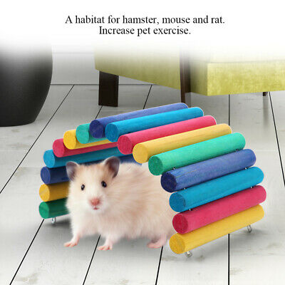Wooden Colorful Hamster Parrot Pet Ladder Bridge Stair Mouse Small Animal Toy UK • 8.49£