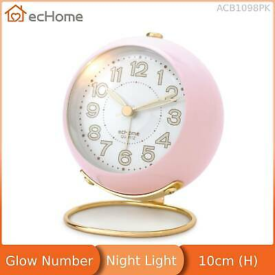 AU16.70 • Buy EcHome Mechanical Analogue Alarm Clock Glow Number Silent Light Pink ACB1098PK