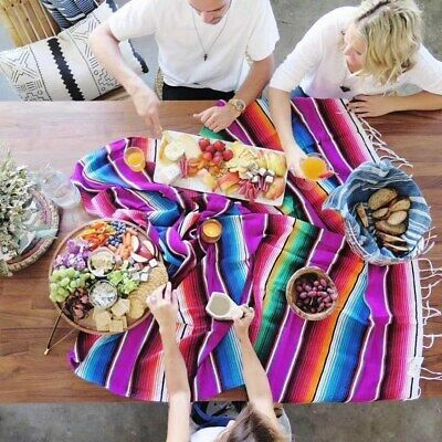 Blanket Indian Shawl Cloak Rug Yoga Picnic CampingHome RainbowTapestry Mexican • 24.47£