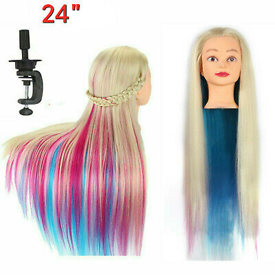 24in Salon Color Hair Training Head Hairdressing Styling Mannequin Doll + Clamp • 11.99£