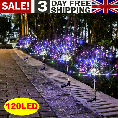 2x 120LED Solar Powered Garden Path Firework Lights Starburst Stake Outdoor Lamp • 12.29£