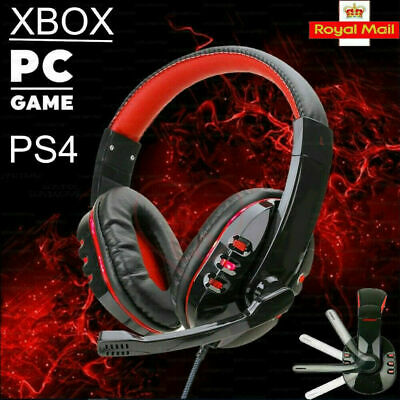 3.5mm Gaming Headset MIC LED Headphones Surround For PC Mac Laptop PS4 Xbox One • 10.79£