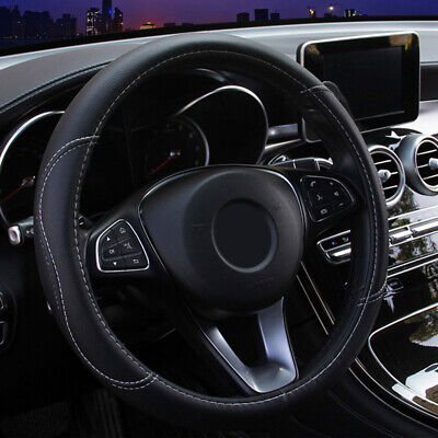 $8.39 • Buy 15in Black Car Steering Wheel Cover Leather Breathable Anti-slip Car Accessories