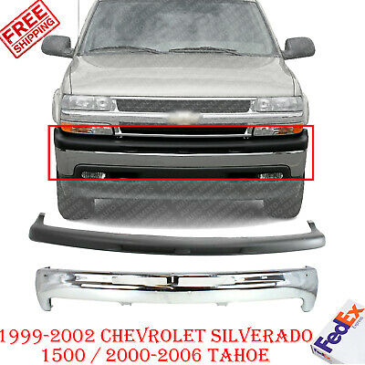 $271.07 • Buy Front Bumper Chrome + Upper Cover For 1999-2002 Chevy Silverado / 00-06 Tahoe