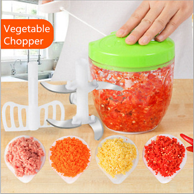 Manual Pull Rope Food Vegetable Chopper Hand Held Pulling Slicer Kitchen Tool UK • 9.09£