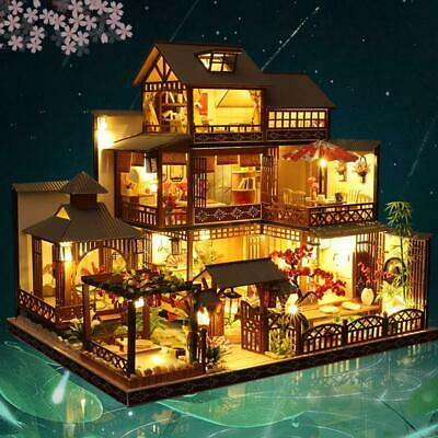 Xmas Japanese Villa Dollhouse DIY Doll House Miniature Furniture LED Light Kits  • 55.99£