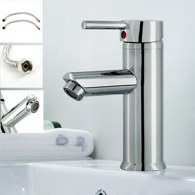 £11.59 • Buy Modern Bathroom Taps Basin Sink Mono Mixer Chrome Cloakroom Tap With 2 Hoses