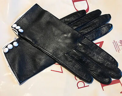Dents Ladies Black Leather Gloves Unlined Size 6.5 Small Bnwt • 29.99£
