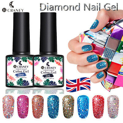 CRANEY Metallic Sparkley UV Gel Soak-off Nail Art Varnish Diamond Glitter Finish • 4.99£