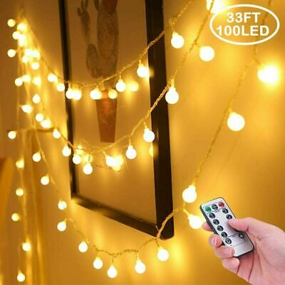 10M 100 LED Outdoor Fairy Globe String Lights, 8 Modes Waterproof With Remote • 11.99£