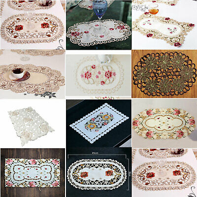 Set Of 4 Placemat Dining Kitchen Table Mats Pad Vintage Embroidered Lace Doilies • 7.13£