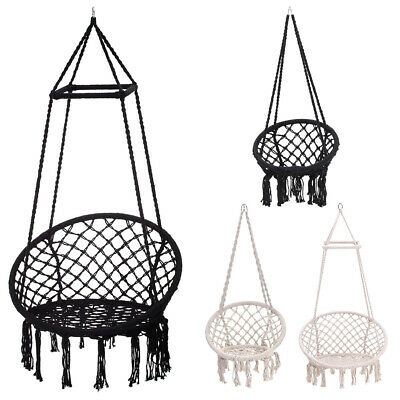 Hanging Hammock Garden Seat/Stand Woven Rope Swing Chair Outdoor Indoor Seating • 159.54£