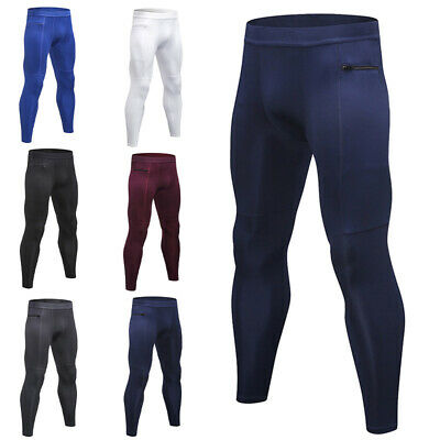 Mens Compression Base Layer Leggings Running Sport Gym Pants Stretch Trousers UK • 12.29£