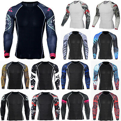Men Thermal Compression Long Sleeve Armour Base Layer Top Sports Gym T-Shirt Fit • 12.34£