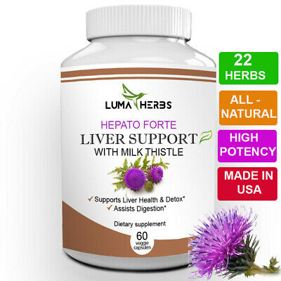$11.54 • Buy Liver Support Cleanse & Detox, Milk Thistle +22 Herbs High Potency 1166 Mg 60ct