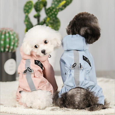 Dog Clothes Rain Coat Waterproof 4 Legs Pet Raincoat Hoodie For Small Middle Dog • 9.69£