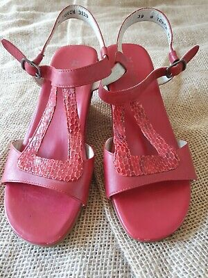 AU63 • Buy ZIERA Sz 39 Dark Red Leather 'Torch' Snakeskin Trim Wedge Sandals Comfort Shoes