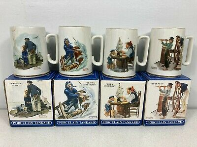 $ CDN31.55 • Buy Vintage Set Of 4 Norman Rockwell Museum Mugs 1985 Seafarers Tankard Collection