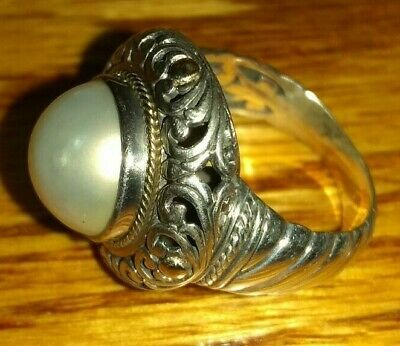 $69.99 • Buy QVC Artisan Crafted Cultured Mabe Pearl Sterling Silver & 18K Gold Ring Size 7