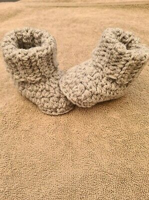Hand Made 0-3, 3-6 Or 6-9 Months Unisex  Crochet Cuffed Baby Booties • 4.99£